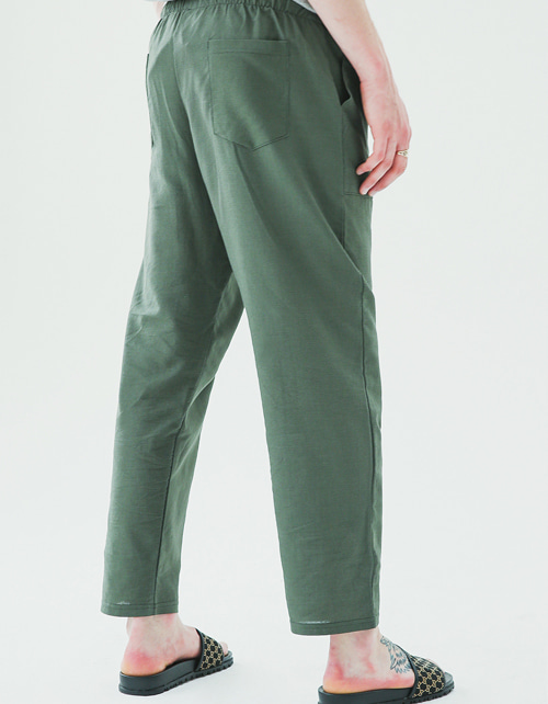 Fatigue linen banding pants(khaki)