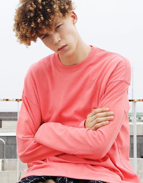 PASTEL LONG SLEEVE T-SHIRTS(dust-pink)