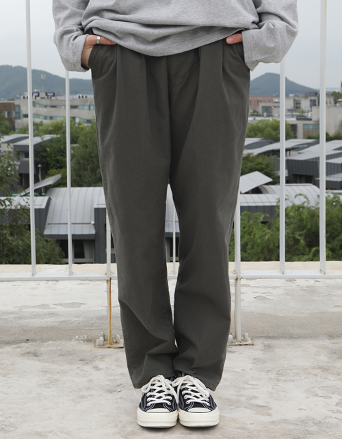 WIDE COTTON PANTS(khaki)